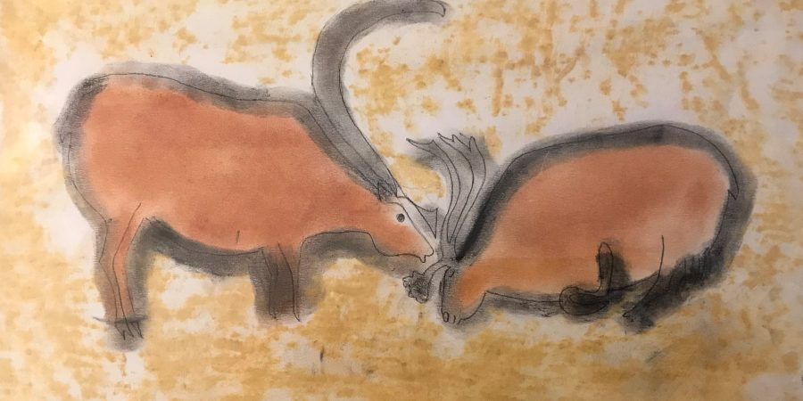Scontro tra Uro, disegnati dalla mano di una bimba